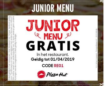 Pizza Hut kortingsbon : Junior menu