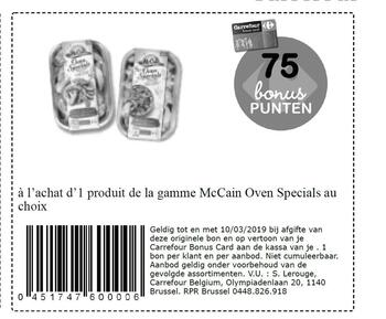 Carrefour kortingsbon : McCain Oven specials nl 10-3-2019