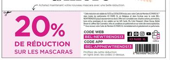 Coupon ICI PARIS XL : -20% mascaras 1103-0704 fr