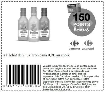 Coupon Carrefour : 2 jus Tropicana 2804