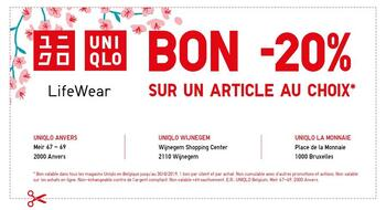 Coupon Uniqlo : -20%