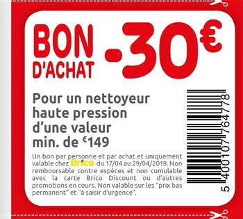 Coupon Brico : -30€ 1704 2904 FR