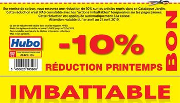 Coupon Hubo : 10% lentekorting 01 2104 FR