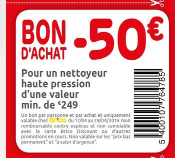Coupon Brico : -50€ 1704 2904 FR