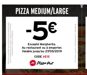 Coupon Pizza Hut : -5 sur medium ou large pizza