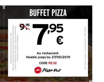 Coupon Pizza Hut : 7,95 pour buffet