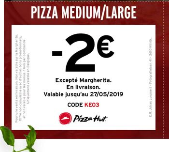 Coupon Pizza Hut : -2 sur medium ou large pizza