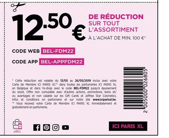 Coupon ICI PARIS XL : 12,5€ coupon de réduction