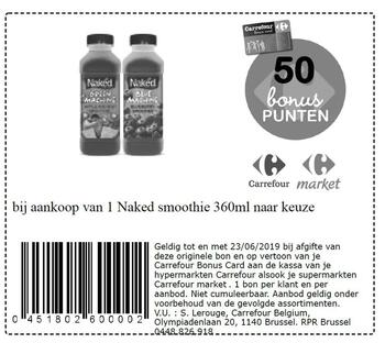 Carrefour kortingsbon : Smoothie naked