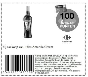 Carrefour kortingsbon : Amarula cream