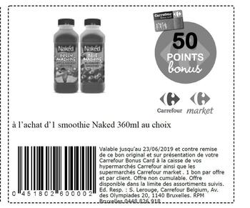 Coupon Carrefour : Smoothie naked