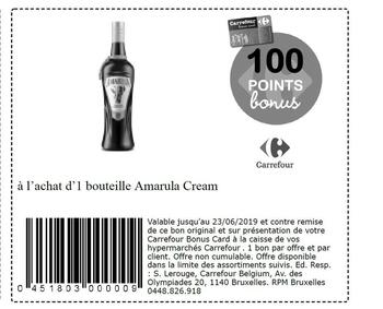 Coupon Carrefour : Amarula cream