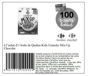 Coupon Carrefour : Quaker kids crunchy