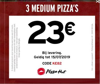 Pizza Hut kortingsbon : 23 €