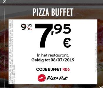 Pizza Hut kortingsbon : 7,95 €