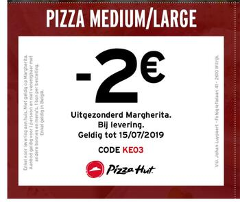 Pizza Hut kortingsbon : -2 €
