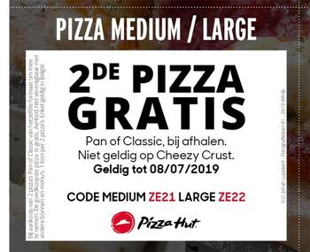 Pizza Hut kortingsbon : 2e gratis