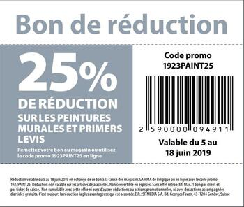 Coupon Gamma : 25% réduction levis peintures murales