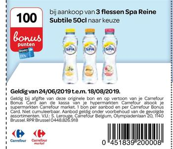 Carrefour kortingsbon : Spa