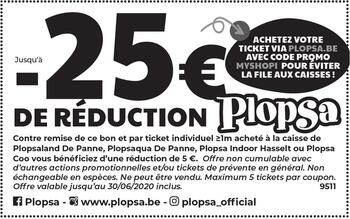 Coupon Plopsa : -25€ de réduction !