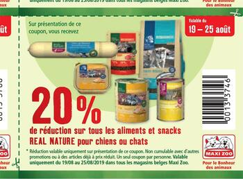 Maxi Zoo kortingsbon : 20% sur aliments ou snacks Real Nature