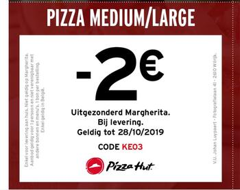 Pizza Hut kortingsbon : -2€