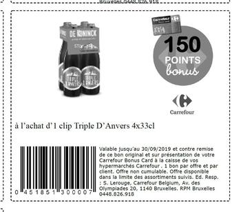 Coupon Carrefour : Triple d Anvers