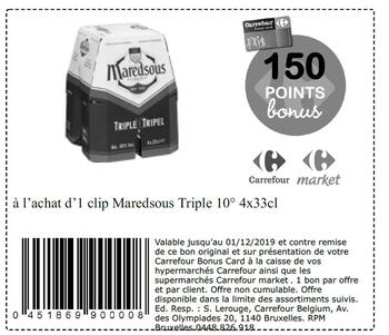 Coupon Carrefour : Maredsous triple