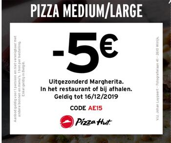 Pizza Hut kortingsbon : -5€