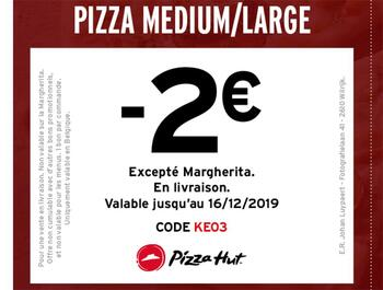 Coupon Pizza Hut : -2€