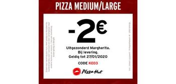 Pizza Hut kortingsbon : -2€ op een medium/large pizza