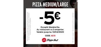 Coupon Pizza Hut : Pizza medium / large