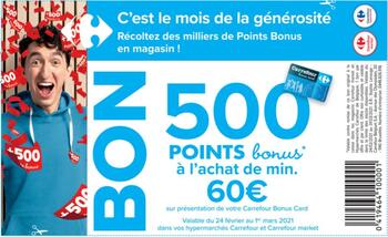 Coupon Carrefour : 500 points bonus